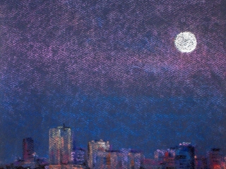 """Работа Любови Викторовой """"Лунная рапсодия"""", 2010, б., пастель, 45х30"""