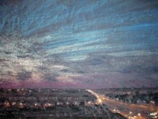 """Работа Любови Викторовой """"Ночной город"""", 2011, 100х70, б., пастель"""