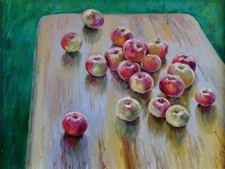 "Работа Александра Ахтямова ""Яблоки на столе"", 45х55 см, 2018 г."