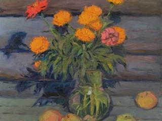 """Работа Марии Гавриловой """"Бархотки и яблоки"""", 50х40 см, х.м."""