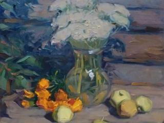 """Работа Марии Гавриловой """"Букет и яблоки"""", 50х40 см, х.м., 2018"""