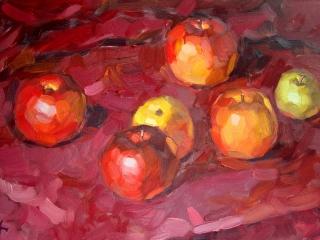"""Работа Марии Гавриловой """"Яблоки"""", 2008 г., х.м., 45х30 см"""