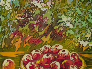 """Работа Натальи Ишутиной """"Август"""", хлопок, горячий батик, 50х70 см, 2016 г."""