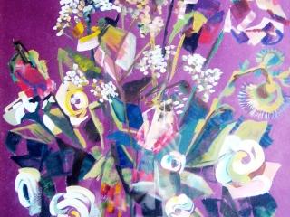 """Работа Анны Обозовой (Мирзоевой) """"Засохшие цветы"""", темпера, тон.бум., 50х40 см"""
