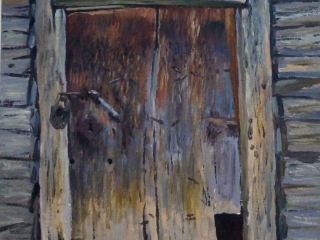 """Работа Александра Ахтямова """"Дверь"""". двп, м., 45х55, 2018"""