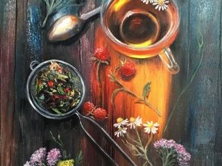 "Работа Зои Древинг ""Летний чай"", холст, масло, 70х50 см, 2017 год"