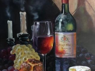"Работа Зои Древинг ""Натюрморт с вином"", холст, масло, 70х50 см, 2017 год"