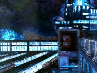 """Работа Оксаны Гладковой """"Железнодорожный вокзал"""", 100х120 см, 2018 г."""
