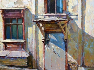 """Работа Ларисы Куликовой """"Дверь"""", холст, масло, 60х60 см, 2016 г."""