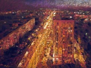 """Работа Любавы Викторовой """"Огни любимого города"""", 2017, 45х32.5 см"""