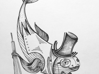 """Работа Юлии Воронцовой """"Джентельмен с плавниками"""", 29x21, бумага, тушь, 2018"""