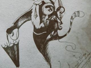 """Работа Юлии Воронцовой """"Дух детективной истории"""", 29x21, тонированная бумага, тушь, 2011"""