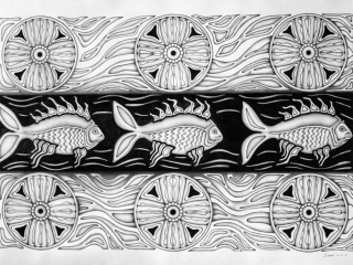 "Работа Юлианы Александровой ""РЫБЫ"", 2016 год, 58х85 см, бумага, карандаш"