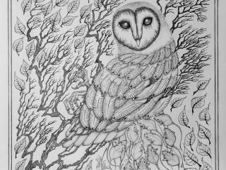 "Работа Юлианы Александровой ""СИПУХА"", 2017 год, 82х82 см, бумага, карандаш"