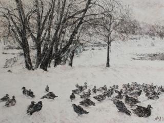 """Работа Любавы Викторовой """"Царство птиц"""", б., пастель, 32,5х45, 2012 г."""