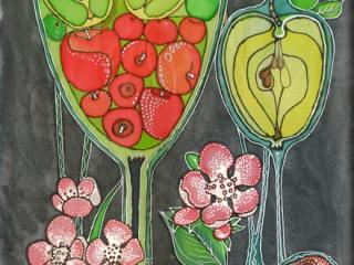 Яблоки, батик, 2012 г, 70х30
