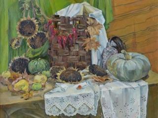 Тыквы и подсолнухи, холст, масло, 2012 г, 110х95