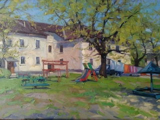 "Мария Гаврилова ""Сызранский дворик"", 50х70, х.м., 2019 г."