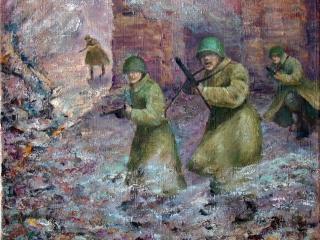 """Татьяна Казакова """"Атака на рассвете"""", 2010 г., холст, масло, 45х45"""