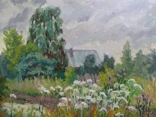 «Пасмурный день в деревне», живопись, к.,м., 2018, 36х50