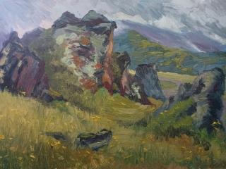 «Стражи Эльбруса», живопись, к.,м., 2017, 25х35